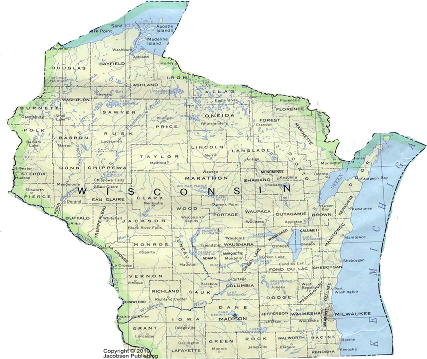 Wi shaded relief map fullscreen for Wisconsin out of state fishing license